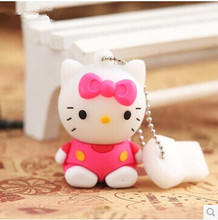 100% realcapacity Wholesale Cartoon Hello Kitty Usb Flash pen Drive disk Memory Sticks 8GB 16GB 32GB Pendrive Free Shipping(China (Mainland))