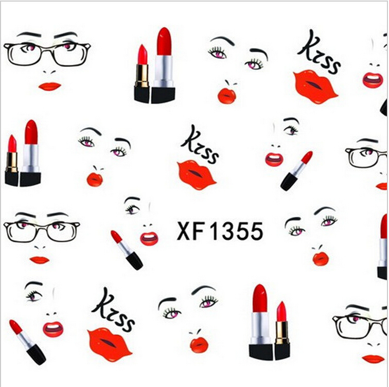 1sheet New Design Decals DIY Designs Wedding Sexy Red Lip Girl Stickers Nail Art Water French Tips Patch Wraps Care Tools XF1355(China (Mainland))