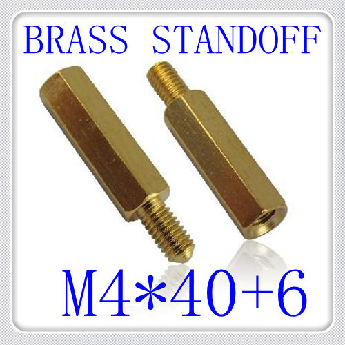 100pcs/lot High Quality PCB M4*40+6 Brass Hex  Male to Female Standoff / Brass Spacer  Screw<br><br>Aliexpress