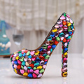 Cute Candy Color Wedding Shoes Bridal Luxury Crystal Pumps Rhinestone High Heel Shoes Handmade Platform Shoes