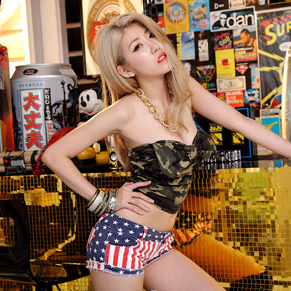 ES1549 Europe and the new women's sexy babes nightclub wrapped chest cute little bow wrapped chest camouflage jacket(China (Mainland))