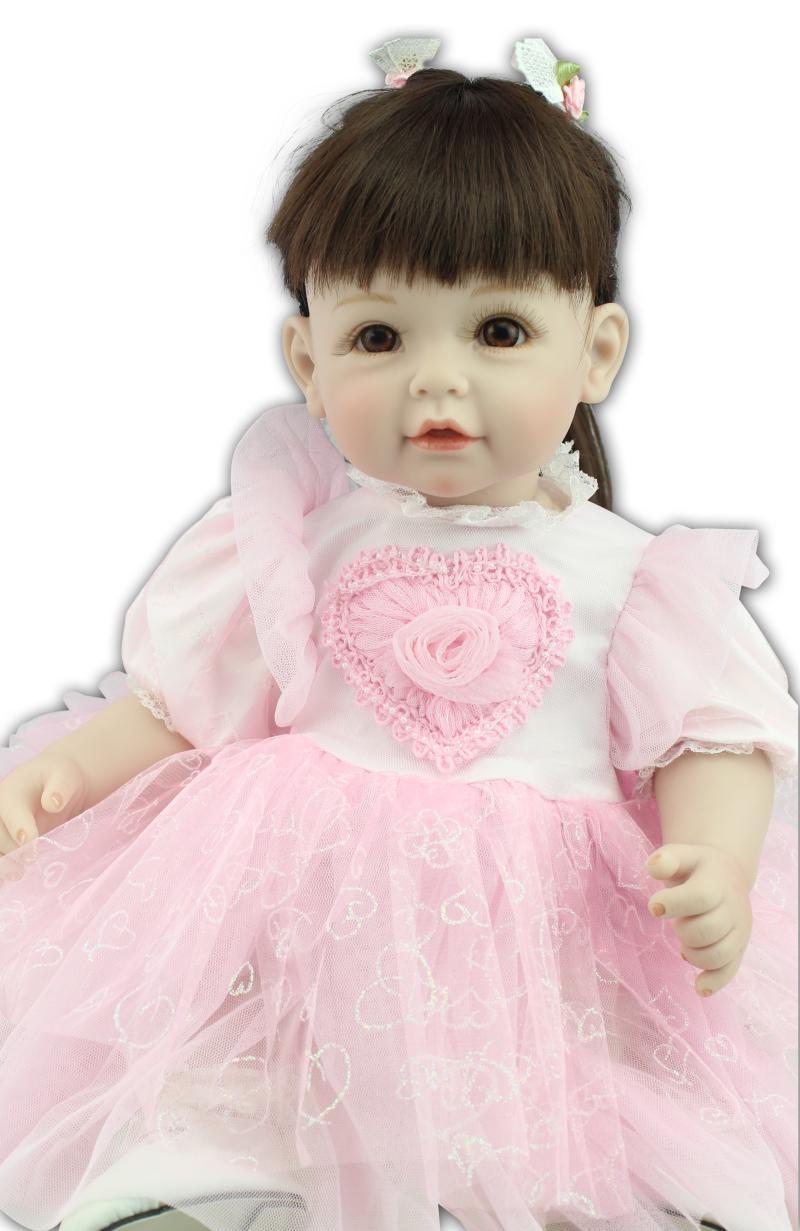 Фотография 22 inch 55cm  baby reborn Silicone dolls, lifelike doll reborn babies toys for Pink dress  Long haired girl Children