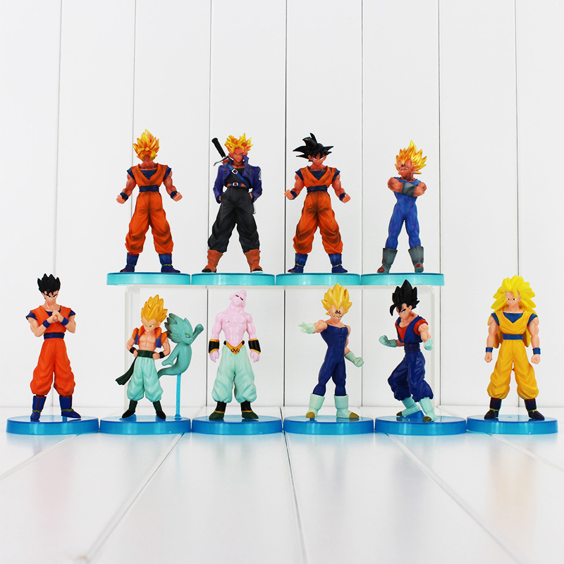 10pcs Anime Dragon Ball Z Super Saiyan Goku Trunks Vegeta dragonball PVC Action Figures Model Toys Free Shipping(China (Mainland))