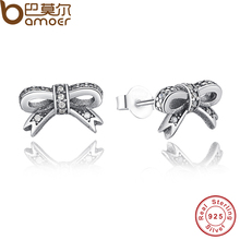 BAMOER Delicate 100% 925 Sterling Silver Sparkling Bow Stud Earrings With Clear CZ Women Wedding Luxury Jewelry PAS407(China (Mainland))