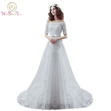 Buy 100% Real Photo Wedding Gowns Wedding Dresses Half Sleeve Sequin Lace A-line Chapel Train 2017 Tulle Bride Gowns Stock for $72.90 in AliExpress store