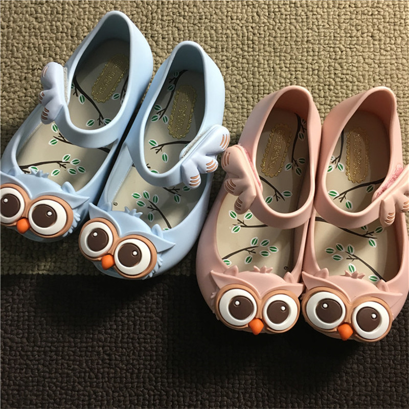 Mini Melissa 2016 new style kids girls Belt Shoes rain shoes owl ornament rubber cute sandal color red black blue buckle slipper<br><br>Aliexpress