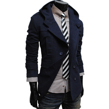 2015 new winter men s casual luxury fashion double breasted hooded jacket free shipping A06 5606