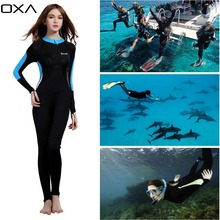 OXA Women Sunscreen One-piece Wetsuit Long Sleeve Anti UV Wet Suits Diving Suit for Snorkeling Swimming Scuba Diving Plus Size