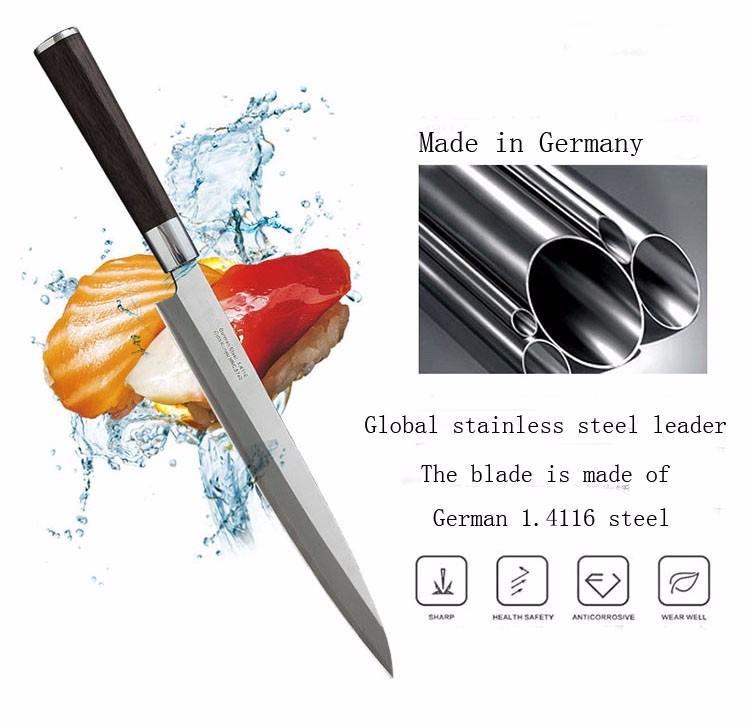 Buy LD German Stainless Steel Sashimi Sashayed Salmon Sushi Knife Fillet Knives Kitchen Fish Slicing Cooking Knife free shipping cheap