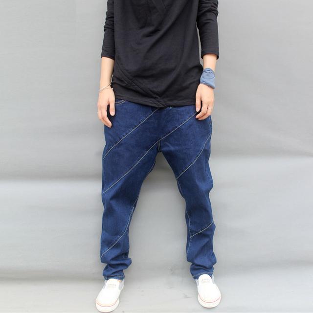 Верх дизайнер мужской сверхбольших хип-хоп джинсы мужские весна и осень большой промежность ...