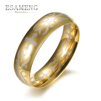 2015 New Fashion Men Jewelry Titanium Steel Rings Men Gold Ring Punk Party Rings For Men Drop Shipping GJ380