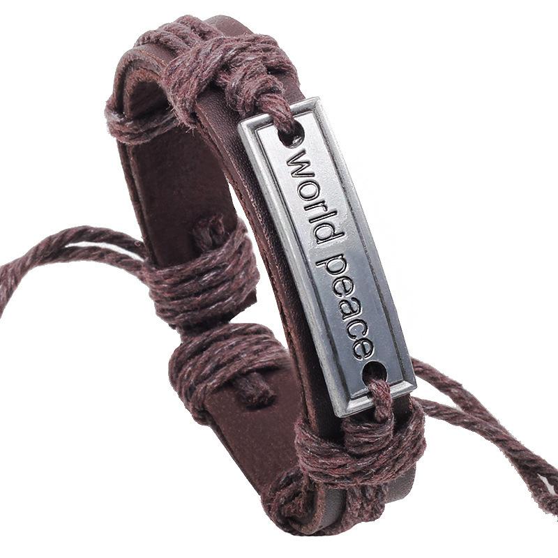 Vintage Antique Leather Bracelets & Bangles Peace World Bracelet Alloy Card Unisex Women Adjustable - Ustyle! Store store