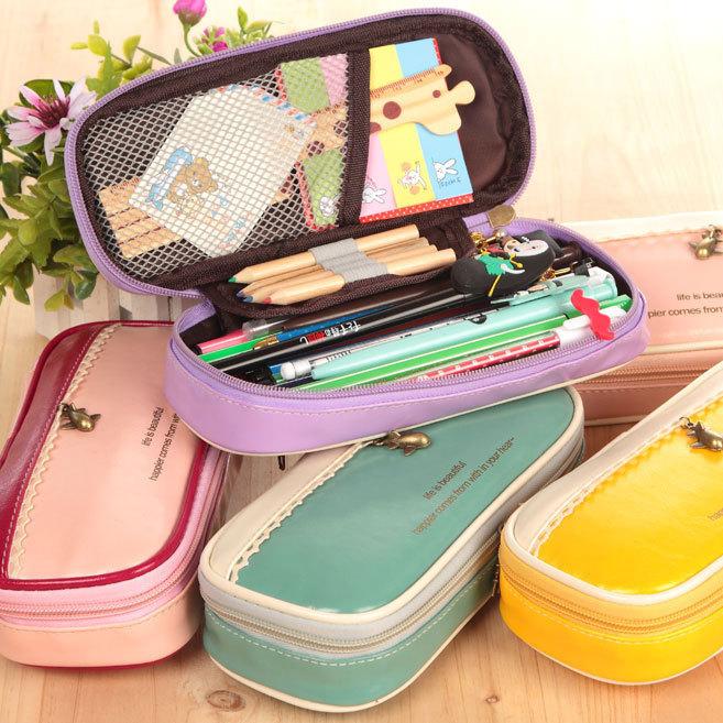 Random Color Multifunction Pencil Case New Children Large Capacity Storage Bag Cute Pencil Bag School Pencil Case Stationery Bag(China (Mainland))