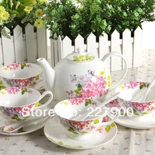 Violets European Ceramic Bone China Coffee Set Tea Set Tea Service For Wedding