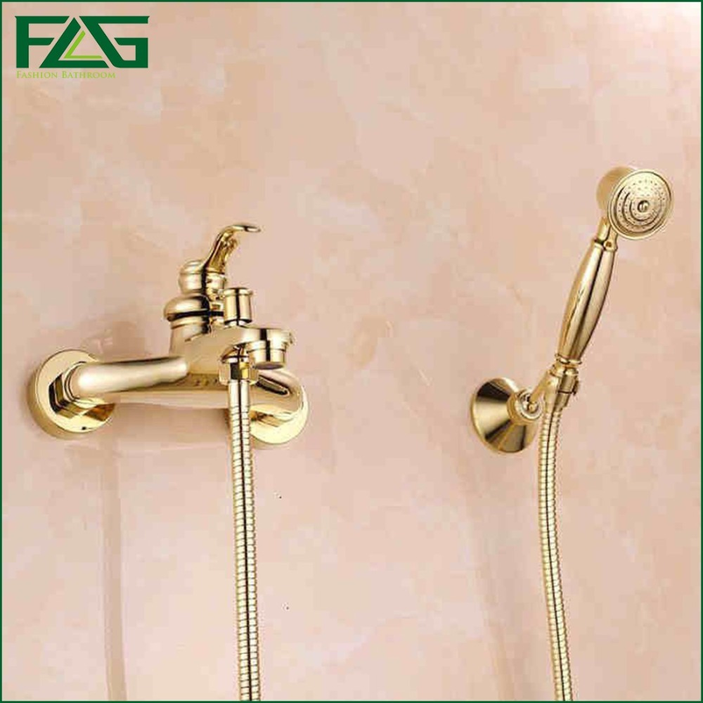 FLG Free Shipping Bathroom Bath Wall Mounted Hand Held Single Handle Brass Gold Plated Shower Head Kit Shower Faucet Sets HS03(China (Mainland))