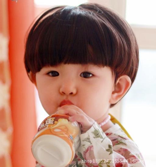 2015Wig And Baby Wig Baby Wig Mushroom Head Baby Fashion Wig Photo Wholesale Photo Shoot short straight(China (Mainland))