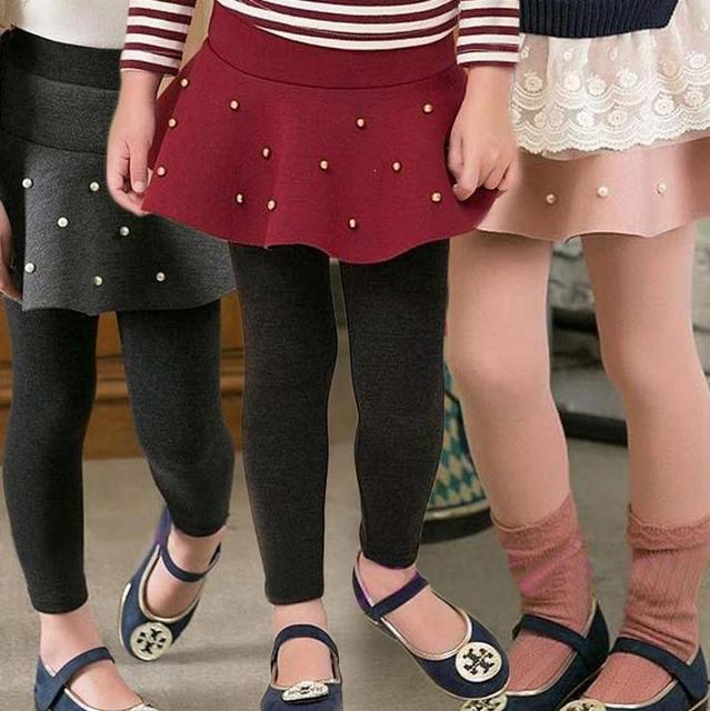 Зима теплая девушка мех леггинсы юбка детские брюки дети девушки длина юбки брюки