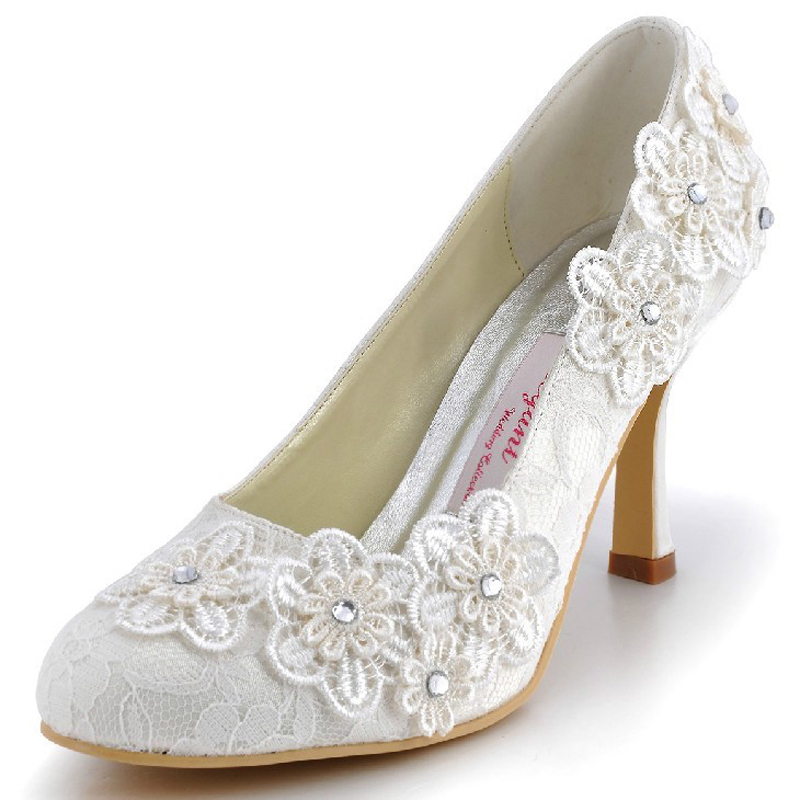 2015 Handmade Lace Flower Wedding Dress Shoes Lady Sweetness Beige Banquet Evening Party Prom