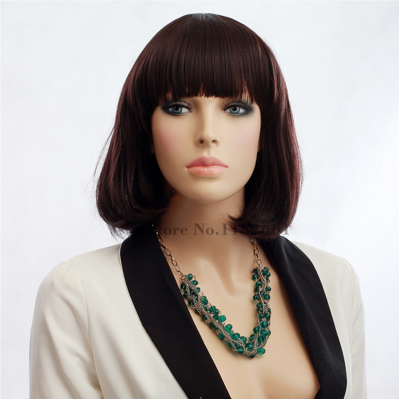 Medium Lenght Brown Bob Wigs With Bangs For African