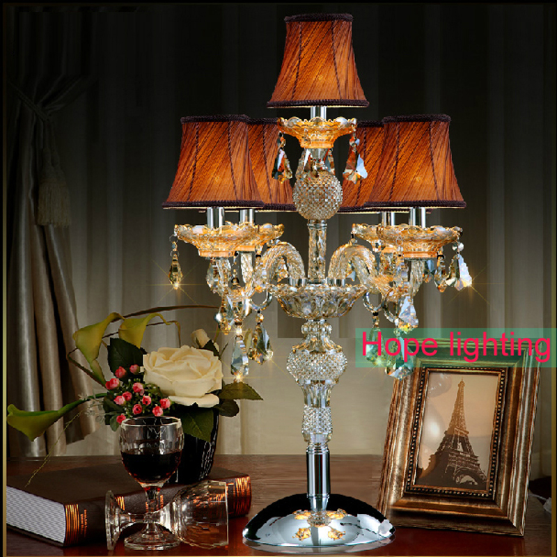 contemporary table lamps with fabric lampshade crystal Table Lamp wedding decoration centerpieces crystal desk lamps bedroom(China (Mainland))
