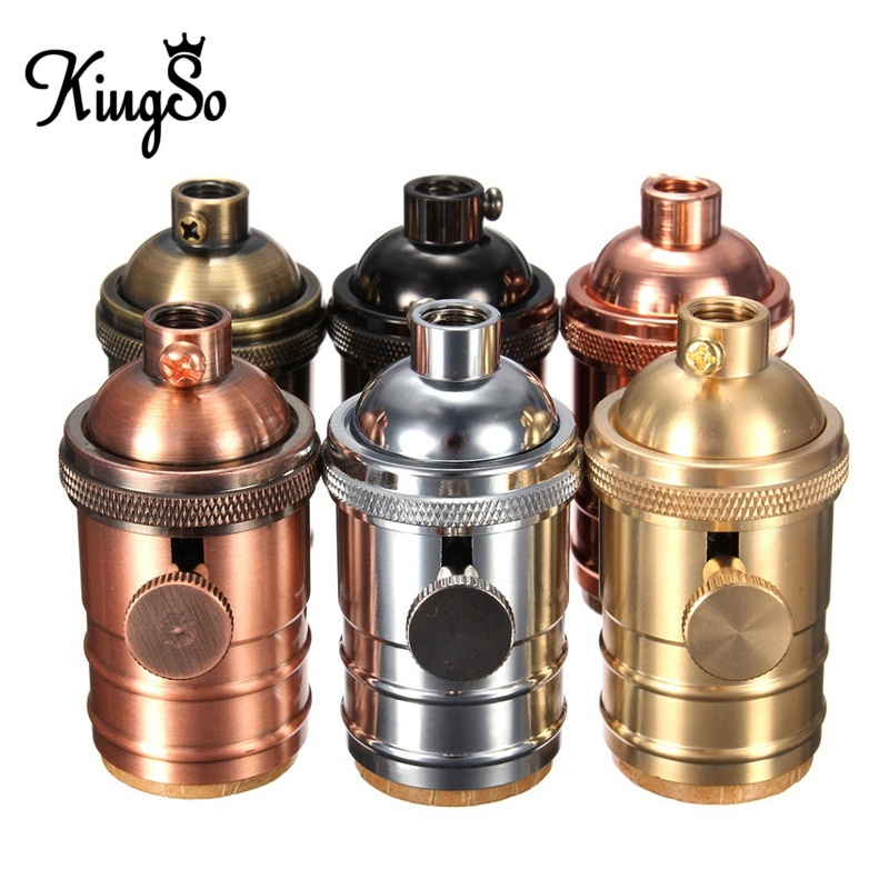 Kingso E26/E27 Solid Brass Lamp Socket 6 Finishes Vintage Edison Light Holder Industrial Bulb Pendants 3 Way Knob Lamp Bases(China (Mainland))