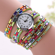 8 Colors New Fashion Rhinestone Quartz Wristwatches Leather Strap Women Dress Watches