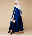 2016 New Arrival Islamic Blue Cloak Abayas Muslim Long Dress For Women Malaysia Dubai Turkish Ladies