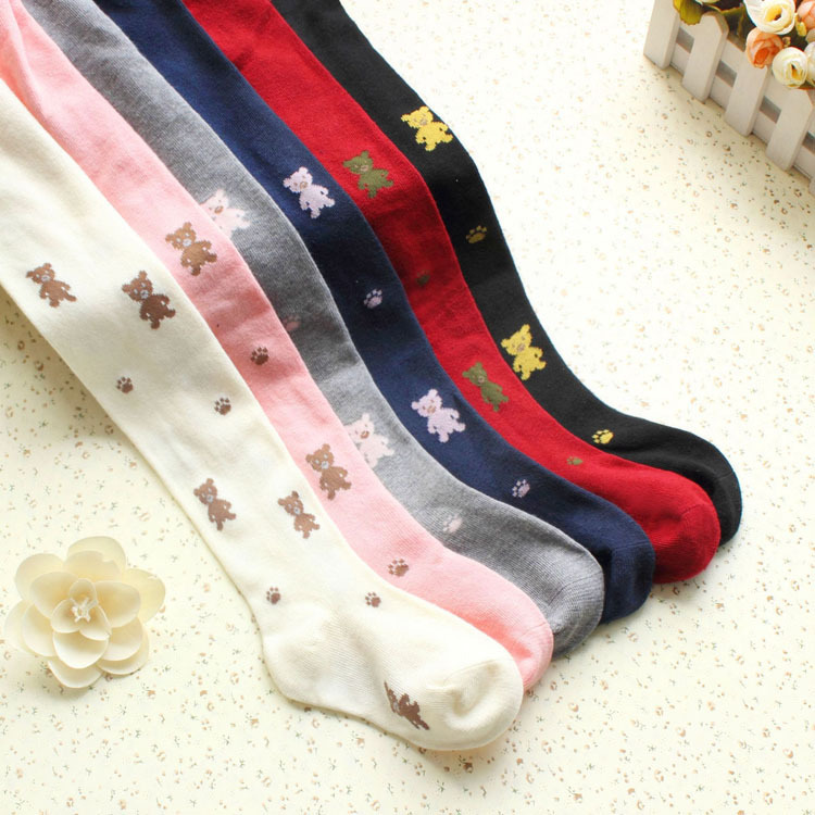 Dance Tights Spring new winter cartoon bear jacquard cotton children bottoming girls cotton tights pantyhose
