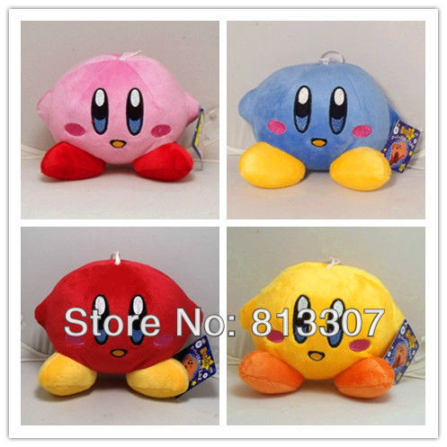 "Super mario Bros Kirby 5"" plush Dolls Pink Plush Stuffed Figure Toys ( four Color selection)"