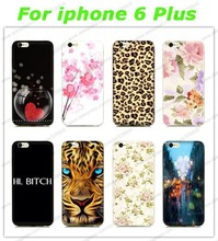 Free Shipping Hot Sale Leopard Tiger Flowers Logo mobile cell phone case for apple iphone 6 plus