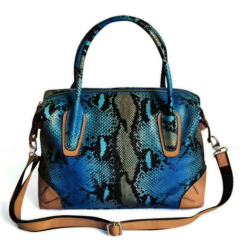 genuine leather snakeskin pattern handbag portable female real leather Serpentine bags animal print bag snake grain tote bag(China (Mainland))