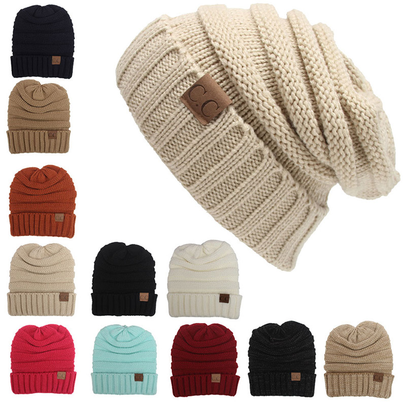 Fashionable Warm Winter Hats Women Benaies Female Chunky Soft Stretch Cable Knit Slouchy Skully CC Labeling Beanie Hip Hop Caps(China (Mainland))