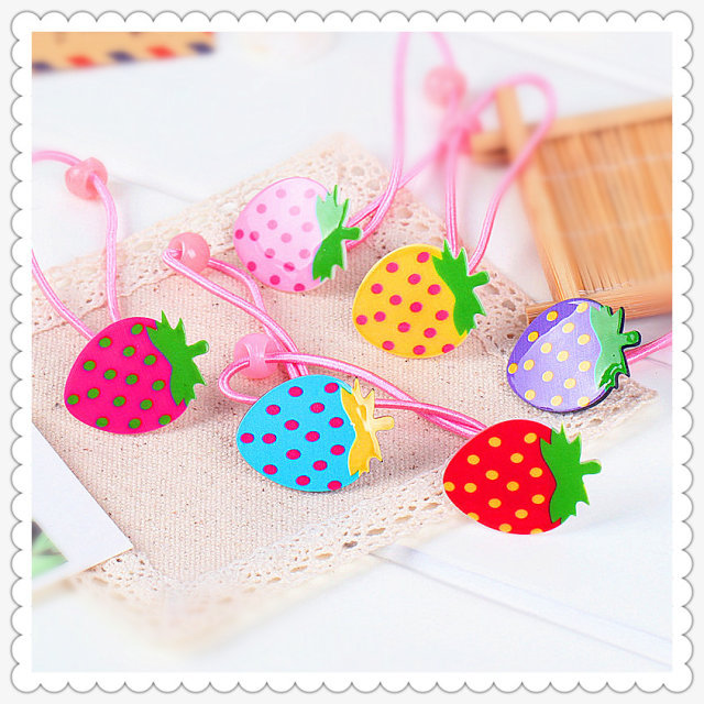 Plastic strawberry children baby girls hair accessories rubber bands barrettes girl headwear Retail wholesale Boutique SF-444(China (Mainland))
