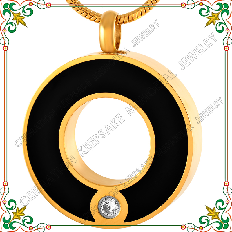 CMJ8074 Gold plated circle of life stainless steel cremation jewelry shiny silver tone with black epoxy ash pendant urn(China (Mainland))