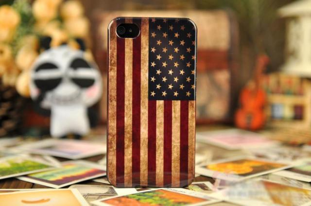 10 pieces , Retro fashion  United States of America   Flag Hard Back Case Cover For APPLE iPhone 4 4S , free shipping