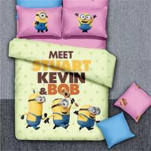 High Quality Cotton Minions/Doraemon/Rabbit/Girls Bedding Set Queen King Size Duvet Cover Bed Sheet Pillowcase housse de couette