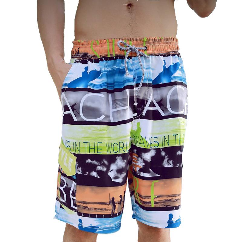 2016 Beach Shorts Men Letter Print Stripe Mens Summer Sports Surf Quick-Drying Clothing Male Casual Boardshorts - Romantic Beachwear store