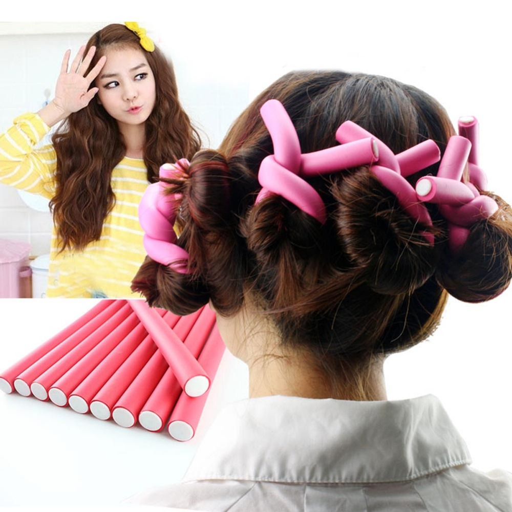 10pcs/lot Hair Curling Flexi Rods Magic Air Hair Roller Curler Hair ...