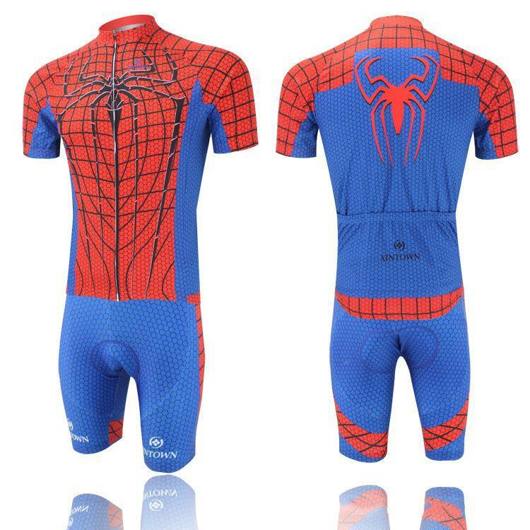 Short sleeve Pro Cycling Jerseys Bib Shorts red &amp; blue Spider printed Ropa Ciclismo / Breathable mtb Mountain Bike clothing<br><br>Aliexpress