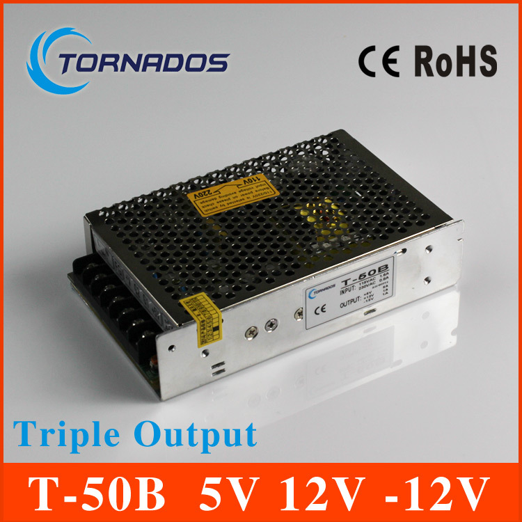 50W Triple Output power supply 5V 5A 12V 1A -12V 1A ac to dc power supply T-50B(China (Mainland))