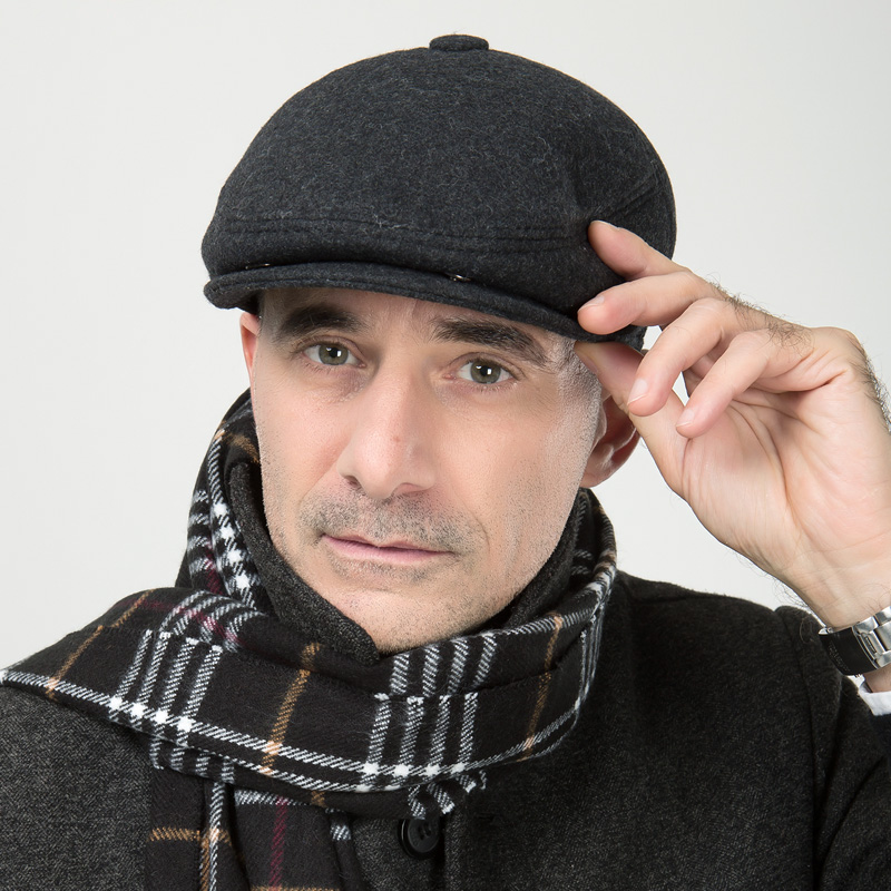 New year gift elderly man Winter Hat Wool warm earmuffs middle aged men peaked cap male visors beret hat B-0621(China (Mainland))