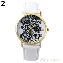 Women's Fashion Round Lace Printed Faux Leather Quartz Analog Dress Wrist Watch