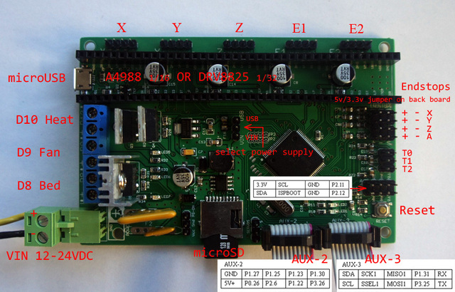 AZSMZ 32bit Ver2.1 ARM Controller for 3D printers,CNC Machines,Laser cutters(Like Azteeg x5 mini  smoothieboard) ramps Up