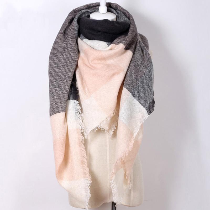 za Brand winter women Cashmere Scarf font b Plaid b font Oversized Shawls Unisex Acrylic warm