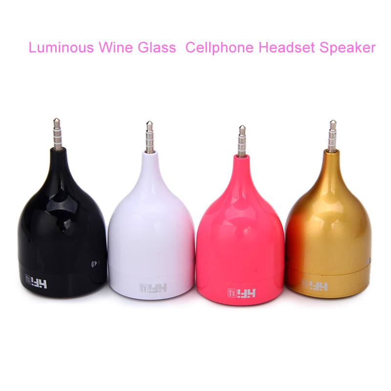Portable Luminous Wine Glass Shape Cellphone Headset Speaker Built-in Lithium Battery Compatible Computer(China (Mainland))