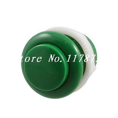 Video Game PCB 2-pin Soldering Green 28mm Dia Momentary Push Button(China (Mainland))