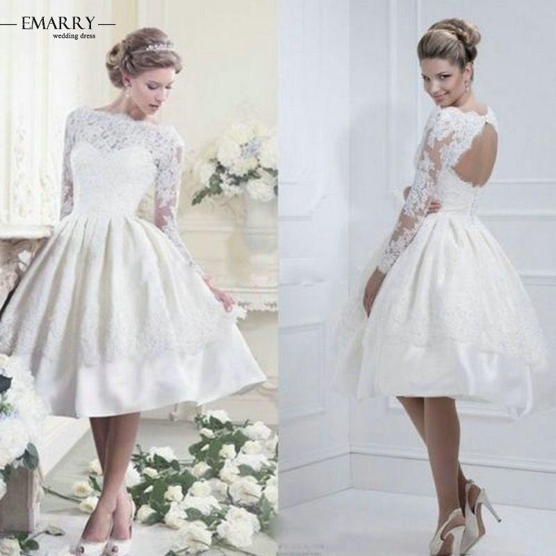 Zz116 полный рукав аппликации бальное платье свадебные платья 2016 спинки длиной до колен свадебные платья мантия Noiva