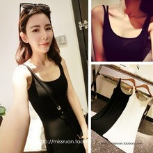 Tops New Arrival Seconds Kill Novelty Sashes Camisole 2014 Spring And Summer Double Shoulder Strap Cotton Elastic Slim Long Vest(China (Mainland))
