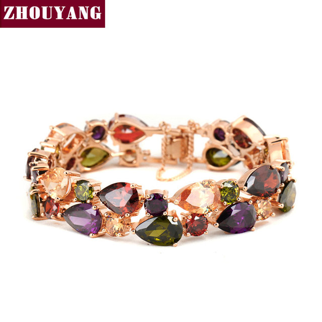 ZYH003 Luxurious Crystals Bracelet  Champagne Gold Plated Fashion Jewelry Made with Genuine   Crystal Wholesale
