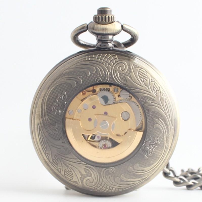 Ретро классический раскладушка мужчины автоматические механические карманные часы старые карманные часы